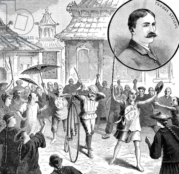 THOMAS STEVENS (1854-1935) English-born American cyclist, first to circumnavigate the globe by bicycle. Thomas Stevens in China, surrounded by a mob angry about China's war with France at the time. Engraving, 1887.