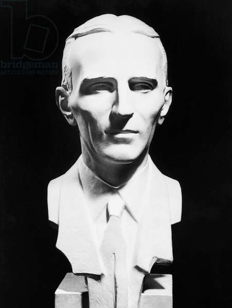NIKOLA TESLA (1856-1943) American electrician, physicist, and inventor. Born in Croatia, of Serbian parents. Portrait bust by John David Brcin (1899-1983).