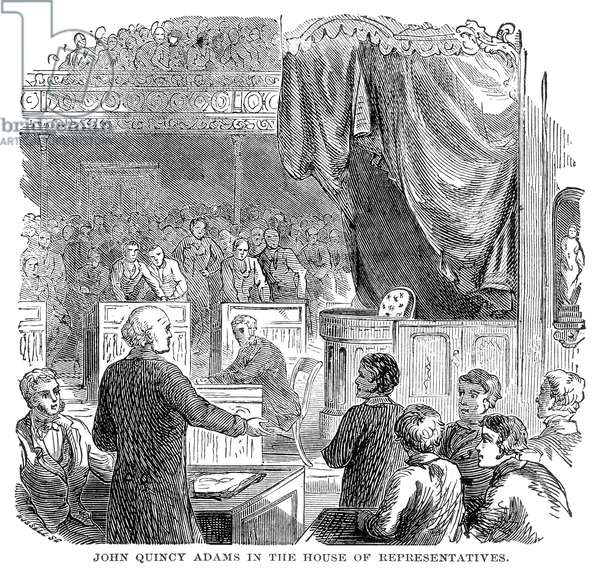 JOHN QUINCY ADAMS (1767-1848). 6th President of the United States speaking in the House of Representatives. Line engraving, 19th century.