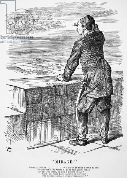 CHARLES GEORGE GORDON (1833-1885). English soldier. Gordon, then isolated at Khartoum, Sudan, vainly seeks help in this 'Punch' cartoon of 1884 by John Tenniel.