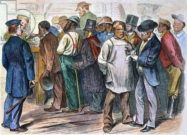 RECONSTRUCTION, 1870 'First municipal election in Richmond since the end of the war - registration of coloured  voters.' Wood engraving from an American newspaper of 1870.