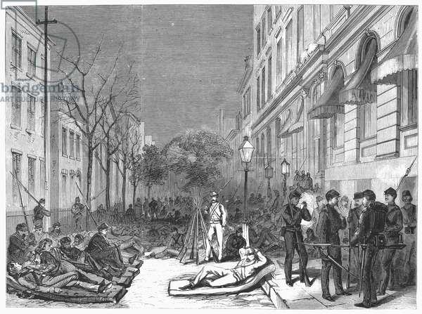NEW YORK: DRAFT RIOTS The Eleventh Regiment on guard in front of the police headquarters on Mulberry Street during the New York City Draft Riots, 13-16 July 1863. Wood engraving, 1871.
