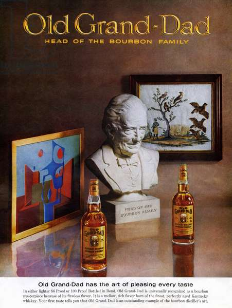 AD: BOURBON, 1963 American advertisement for Old Grand-Dad Bourbon. Illustration, 1963.