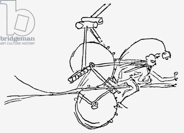 Sketch of a semi-prone ornithopter, showing gear train, and cog-pedal transmission, original dated c.1485