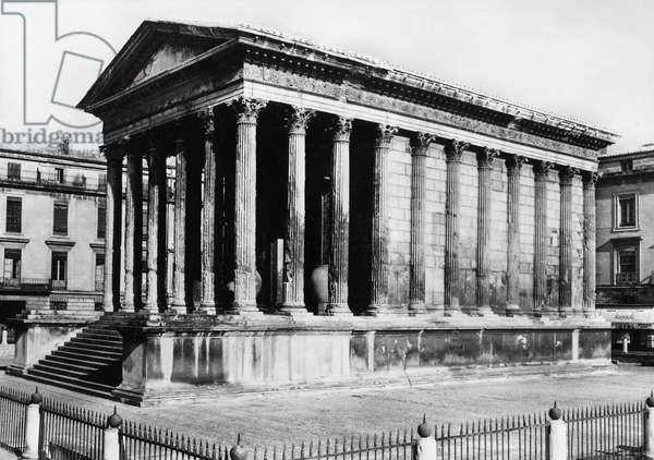 FRANCE: ROMAN TEMPLE The ancient Roman temple Maison Careée at Nimes in the South of France. Photograph, mid-20th century.