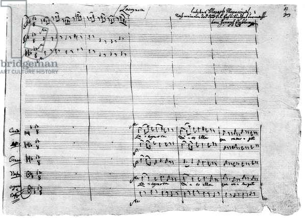 Autograph manuscript of 'Requiem', 1791 (pen & ink on paper)