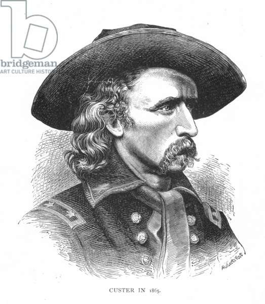 GEORGE CUSTER (1839-1876) American army officer. Wood engraving, 19th century.