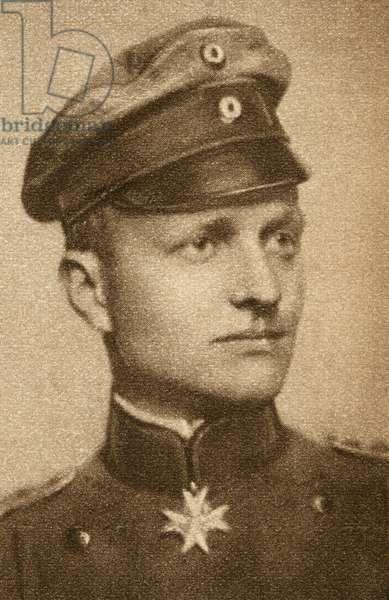 MANFRED von RICHTHOFEN (1892-1918). Known as the Red Baron. German aviator.