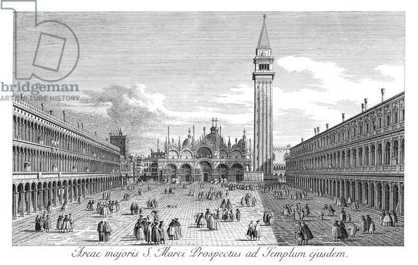 VENICE: PIAZZA SAN MARCO Piazza San Marco in Venice, Italy, looking looking east along the Central Line. Engraving, 1735, by Antonio Visentini after Canaletto.