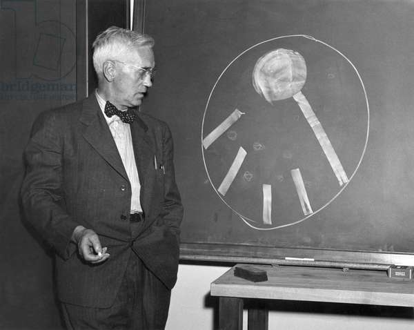 SIR ALEXANDER FLEMING (1881-1955). Scottish bacteriologist. Fleming demonstrating penicillin's ability to diffuse which, he said, 'makes it effective and superior to other antibiotics.' Photograph, 1920s.
