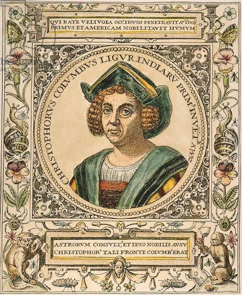 CHRISTOPHER COLUMBUS (1451-1506). Italian navigator. Line engravingby Theodor de Bry, c.1590.