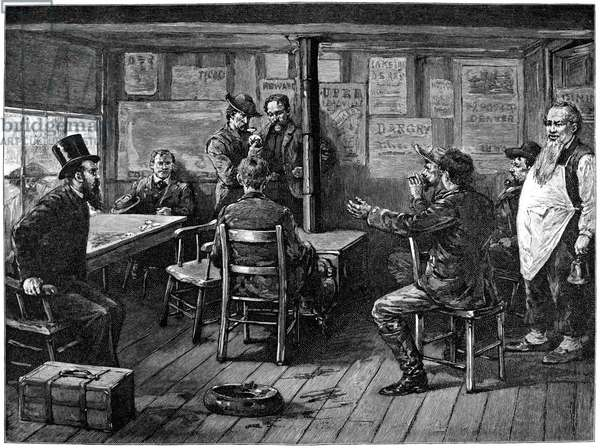 GOLD RUSH: MINERS, 1887 'A Rich Strike - A Million in Sight.' A potential buyer examines a nugget of gold as hopeful miners watch. Wood engraving, American, 1887.