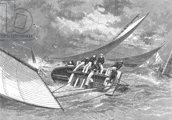 YACHT RACE, 1877 A hiker yacht race on the Delaware River. Wood engraving, 1877.