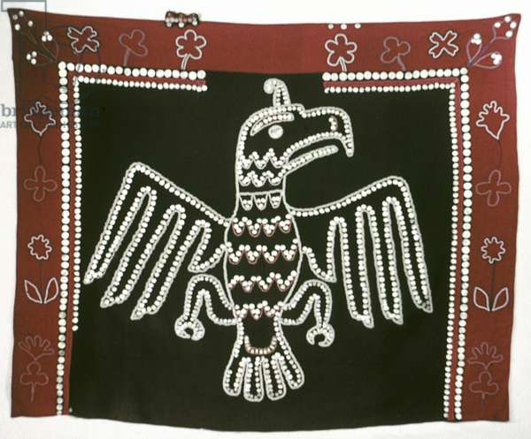 ALASKA: TLINGIT BLANKET Blanket with sewn on buttons in the shape of an eagle, made by the Tlingit tribe in Alaska.