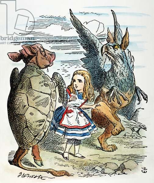 CARROLL: ALICE, 1865 Alice with the Mock Turtle and the Gryphon. Wood engraving after Sir John Tenniel for the first edition of Lewis Carroll's 'Alice's Adventures in Wonderland,' 1865.