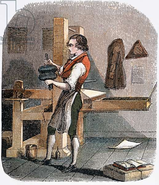 BENJAMIN FRANKLIN (1706-1790). American printer, publisher, scientist, inventor, statesman and diplomat. Franklin as a young printer's apprentice: American engraving, 19th century.