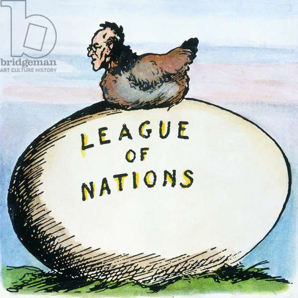WILSON: LEAGUE OF NATIONS American cartoon, c.1919, illustrating President Woodrow Wilson's deep commitment and personal sense of responsibility to the League of Nations.