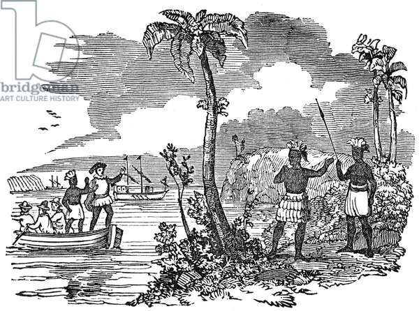 CHRISTOPHER COLUMBUS (1451-1506). Italian navigator. Columbus arriving in Cuba in 1492. Wood engraving, American, 19th century.