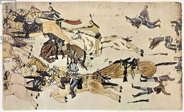LITTLE BIG HORN, 1876 Chief Crazy Horse (center with spotted war paint) at the Battle of Little Bighorn, 25 June 1876: pictograph by Amos Bad Heart Bull, an Oglala Sioux from the Pine Ridge Reservation.