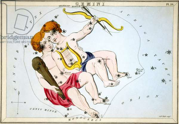 Figuration of the constellation Gemini and the twins, Castor and Pollux, 1825 (engraving)