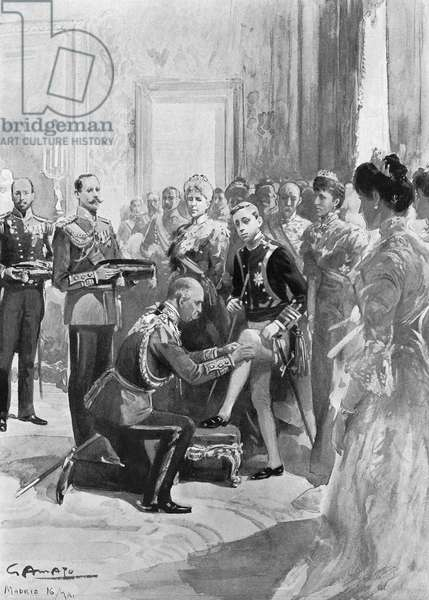 ALFONSO XIII (1886-1941) King of Spain, 1886-1931. Prince Arthur, the Duke of Connaught, investing the king with the Order of the Garter on 16 May 1902. Contemporary English newspaper illustration.