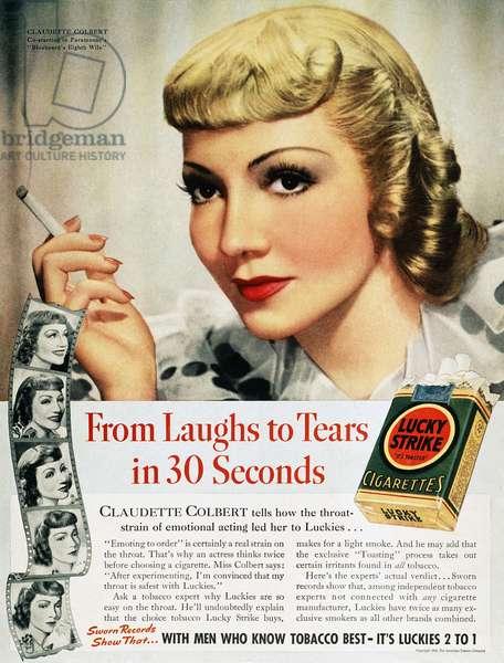 LUCKYS CIGARETTE AD, 1938 Actress Claudette Colbert endorsing Lucky Strike cigarettes. American magazine advertisement, 1938.