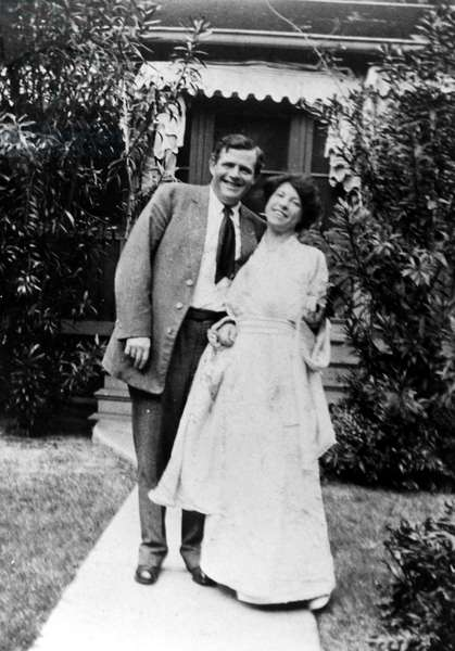 JACK LONDON (1876-1916) American writer. With his wife, Charmian Kittredge London (1871-1955), early 20th century.