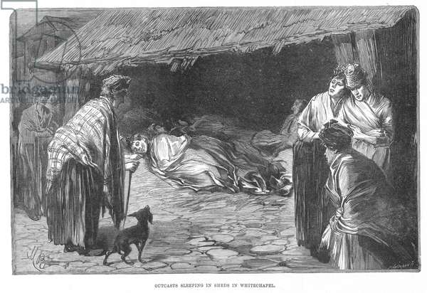 WHITECHAPEL, LONDON, 1888 Outcasts sleeping in sheds in Whitechapel, the area where the Jack the Ripper murders took place. Wood engraving from a contemporary English newspaper.
