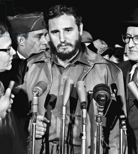 FIDEL CASTRO (1926- ) Cuban revolutionary leader. Arriving at the Military Air Transport Service terminal in Washington, D.C., 15 April 1959. Photographed by Warren K. Leffler.