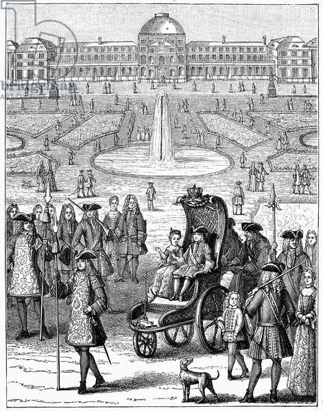 LOUIS XV (1710-1774) King of France, 1715-1774. The child king going for a ride in the garden of the Tuilleries. Wood engraving, French, 19th century.