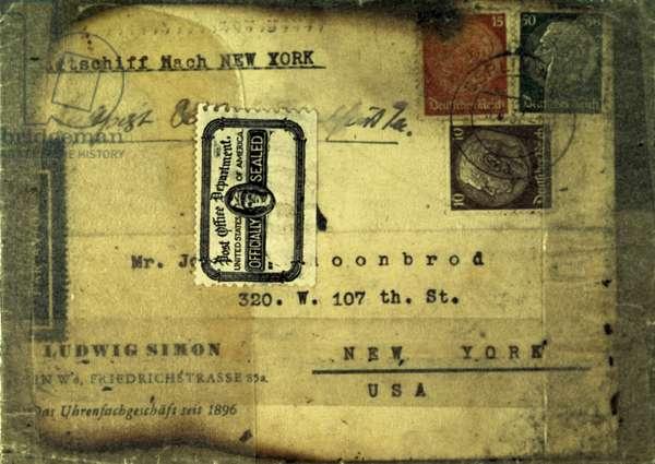 HINDENBURG STAMP, 1937 Postcard salvaged from the wreck of the German airship Hindenburg, 1937.