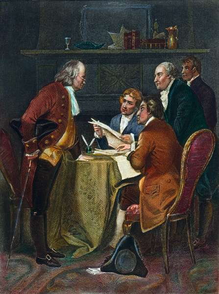 DECLARATION COMMITTEE The Declaration of Independence Committee, 1776. Left-to-right: Benjamin Franklin, Thomas Jefferson, Robert R. Livingston, John Adams, and Roger Sherman. Steel engraving, 19th century.