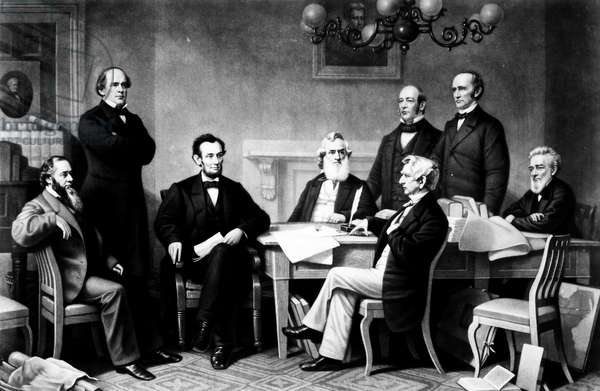 EMANCIPATION PROCLAMATION The first reading of the Emancipation Proclamation before President Abraham Lincoln's cabinet in 1862. Standing left to right: Salmon P. Chase, Caleb B. Smith, Montgomery Blair; seated left to right: Edwin M. Stanton, President Lincoln, Gideon Welles, William H. Seward, Edward Bates. Engraving, 1866.