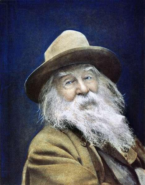 WALT WHITMAN (1819-1892) Oil over a photograph, 1887.