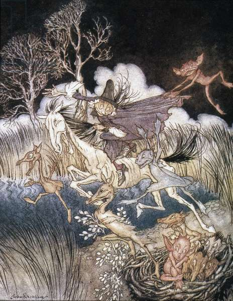 Spirits in Sleepy Hollow, illustration from 'The Legend of Sleepy Hollow,' by Washington Irving, 1928 (colour litho)