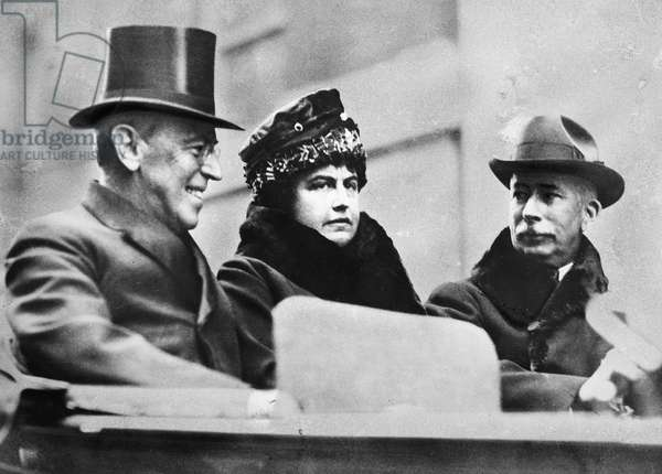 WOODROW WILSON (1856-1924) 28th President of the United States. President Woodrow Wilson, Mrs. Edith Bolling Wilson and Colonel Edward Mandell House. Photographed c.1919.