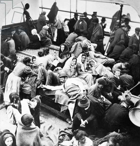 EUROPEAN IMMIGRANTS, 1902 European immigrants on the deck of a ship arriving at New York Harbor, 1902.