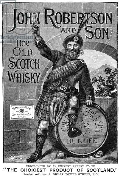 AD: SCOTCH WHISKY, 1893 English advertisement for John Robertson and Son scotch whisky, 1893.