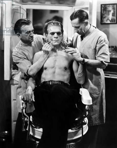 FILM: FRANKENSTEIN, 1931 Boris Karloff having makeup applied for his role as the Monster in the 1931 film.