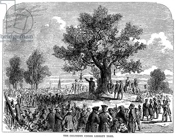 BOSTON: STAMP ACT RIOT, 1765 Bostonians protesting the Stamp Act by hanging an effigy of stamp agent Andrew Oliver from the Liberty Tree in Newbury Street on 14 August 1765. Engraving, 19th century.