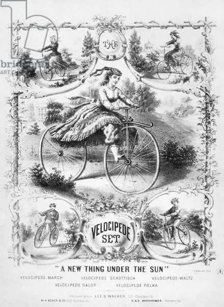 BICYCLES: SONGSHEET, 1869 Lithograph sheet music cover by Thomas Sinclair for the 'Velocipede Set,' published at Philadelphia, 1869.