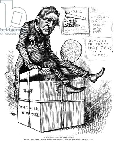 "NAST: TILDEN CARTOON, 1876 'A Box Stew; or, an Enviable Position. Usufructuary Tilden: ""William, we would miss you - until I am in the White House."" (Hard on Tweed).' Cartoon by Thomas Nast, 1876, criticizing Samuel Tilden, the Democratic candidate for U.S. President."