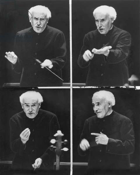 ARTURO TOSCANINI (1867-1957) Italian orchestral conductor. A photographic sequence of Toscanini rehearsing the NBC Symphony Orchestra in 1954.