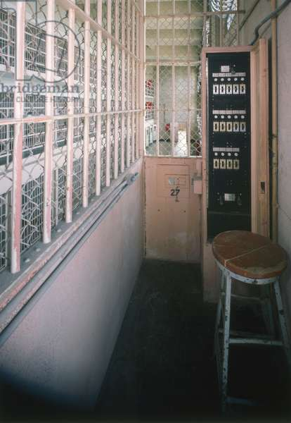 ALCATRAZ, c.1980 Electric door controls in cell block 'D' of the Alcatraz Federal Penitentiary's cellhouse. Photograph by Jet Lowe, c.1980.