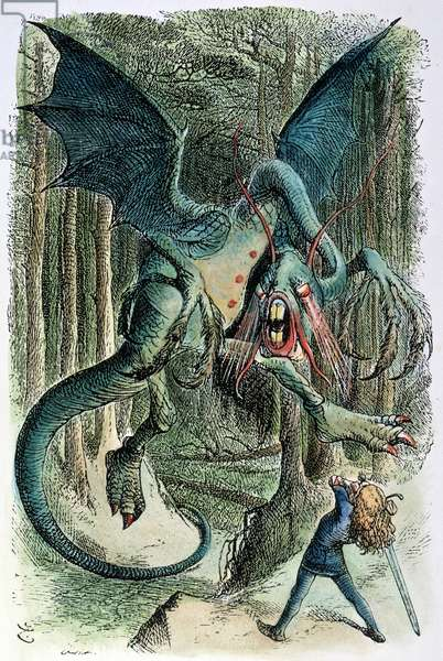 CARROLL: LOOKING GLASS The Jabberwock. Wood engraving after Sir John Tenniel for the first edition of Lewis Carroll's 'Through the Looking Glass,' 1872.