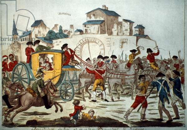 LOUIS XVI: ARREST, 1791 The arrest of King Louis XVI and his family at Varennes, 21 June 1791. Contemporary French engraving.