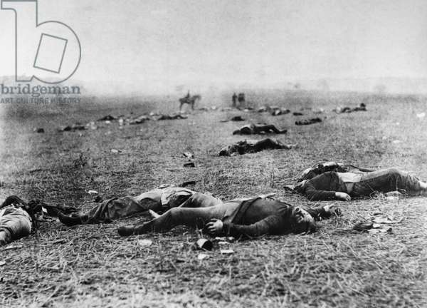 CIVIL WAR: GETTYSBURG, 1863 Bodies of soldiers killed at the Batttle of Gettysburg, Pennsylvania, July 1863, during the American Civil War. Photograph by Timothy O'Sullivan.