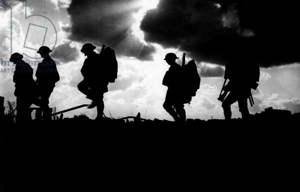 WWI: BRITISH TROOPS, 1917. British soldiers of the 8th Battalion, East Yorkshire Regiment going up to the line near Frezenberg during the Third Battle of Ypres. Photograph by Ernest Brooks, 1917.