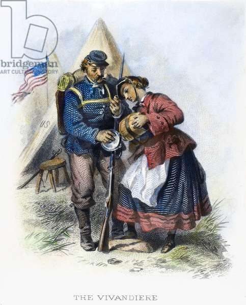 CIVIL WAR: UNION SOLDIER 'The Vivanderie.' Steel engraving, American, 19th century.