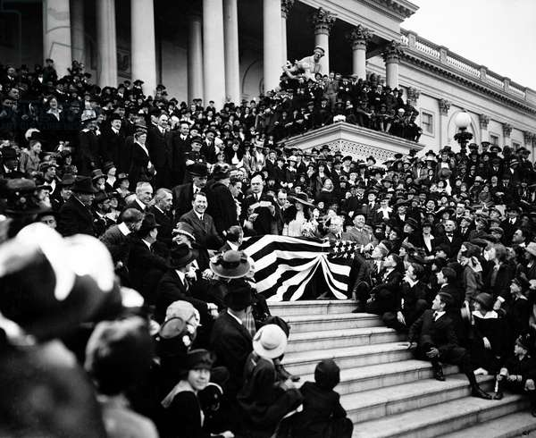 LIBERTY BONDS, 1918 Mary Pickford, Charlie Chaplin, and other movie stars selling Liberty Bonds on the steps of the Capitol Building in Washington, D.C. Photograph, 1918.